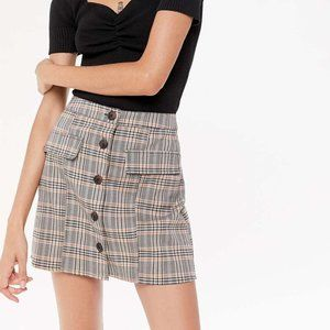 UO Pennsport Plaid Button-Front Skirt Size Large